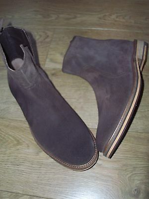 NEW Mens PRESTIGE Brown Leather Suede Chelsea Boots Size EU 42