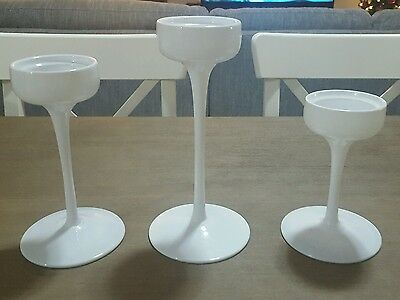 White Candle Holders - Set of 3