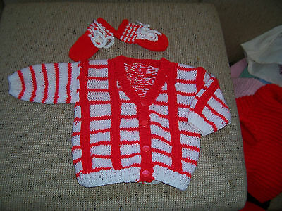 New Baby Hand Knitted Cardigan & Mitts Red & White  12-18 Months Approx