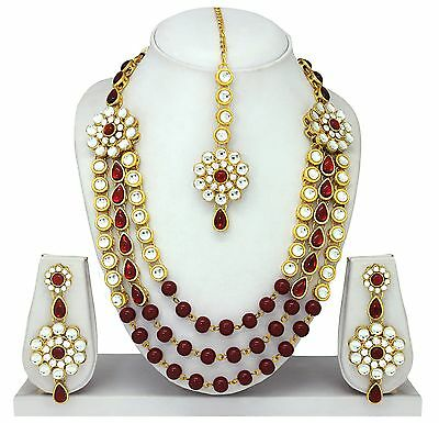 Gold Tone Kundan Necklace Earrings Set Wedding Jewelry New Bollywood Bridal 4pc