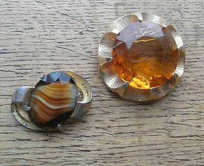 Vintage 2 x CHUNKY MODERNIST STYLE GLASS Brooch / Pin 60'S 70'S SPHINX & OTHER