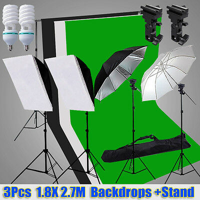 Photo Studio Softbox Lighting Umbrella Light Stand FLASH MOUNT +3 Backdrops Kit