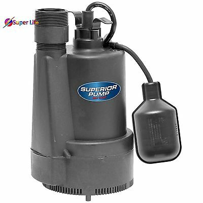 1/3 HP Motor Thermoplastic Sump Pump Tethered Float Switch 40 Water Gallons 10ft