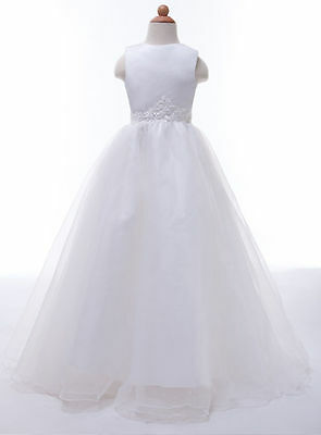 New White First Holy Communion Bridesmaid Party Girl Dress Age 10 - 11 Years