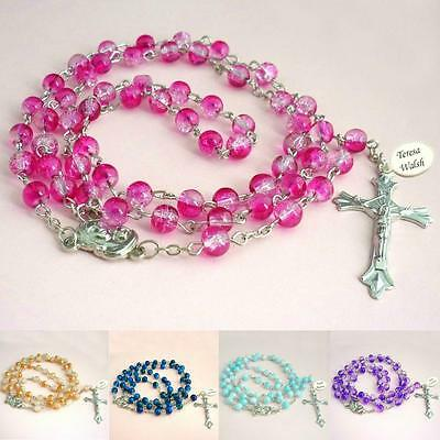 Rosary Beads, Personalised with Any Name, Date, Message. Colourful Rosaries