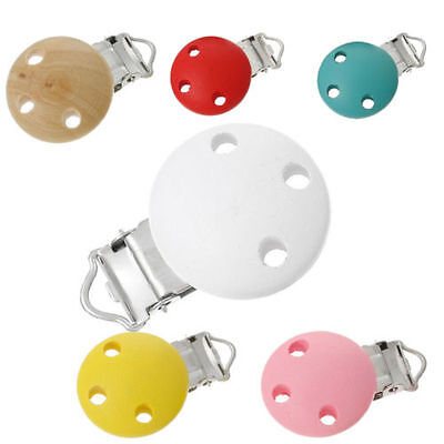 Baby Infant Dummy Nipple Colorful Wooden Pacifier Suspender Clips Holder Soother