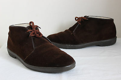 Vintage Morland brown suede leather real wool lined lace up ankle boots UK10 70s