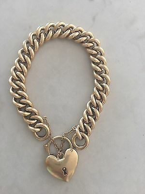 Antique 9ct Yellow Gold Padlock Curb Link Bracelet 67 Grams $5,000