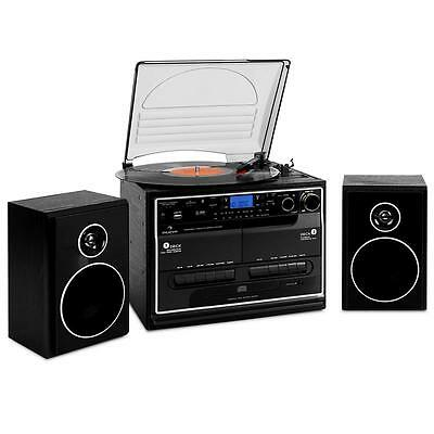Auna Hifi Cd Stereo System Turntable Record Player Dual Cassette Fm Am Radio