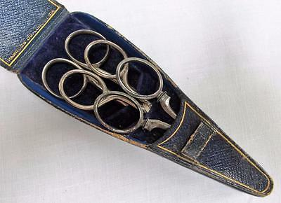 Antique Victorian Harrods Graduated Tooled Blue Sewing Scissor Case & Scissors