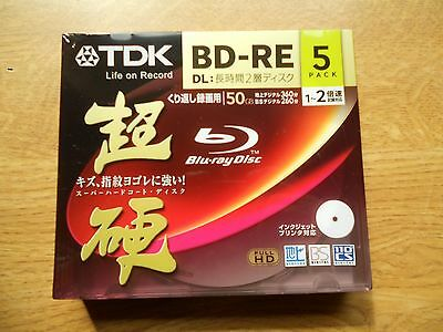 Pack Of 5 Tdk Bd-Re 50Gb Dual Layer........(Rewritable Blu-Ray Discs)..from Uk