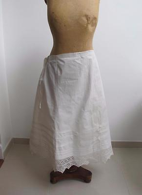 Antique Victorian Girls Cotton & Crochet Lace Petticoat Underskirt c1890