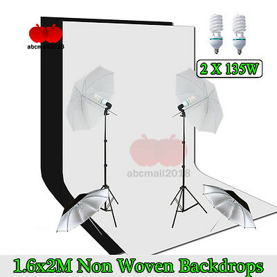 Photography Studio Soft Umbrella Lighting Continuous Light Stand Kit Backdrop UK