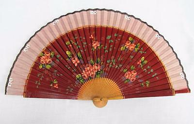 Vintage 1950's Red & Pink Hand Painted Wood & Fabric Fan - Flowers