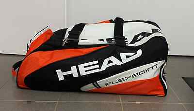 Sac de tennis combi Head Flexpoint Radical pro - raquettes bag noir orange blanc