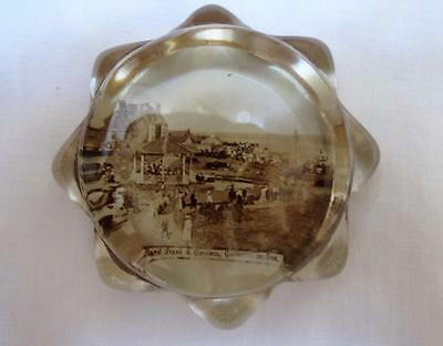 Vintage 1920's Souvenir Glass Paperweight - Bandstand & Gardens Gorleston on Sea