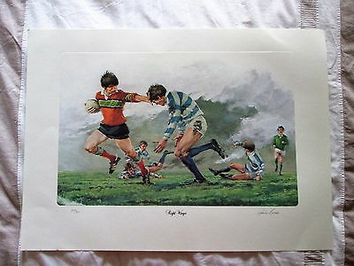 RONNIE BROWNE Signed Print RIGHT WINGER (Rugby) Limited Edition 240/800