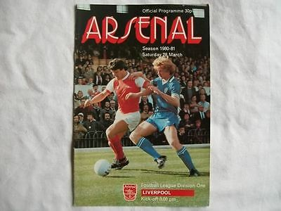 Arsenal v Liverpool 28.3.81 Programme