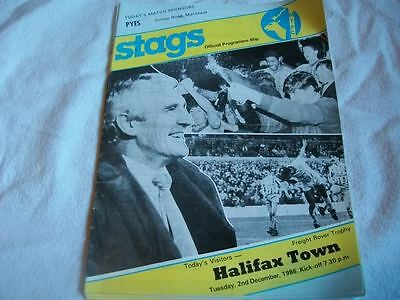 Mansfield Town v Halifax Town 2.12.86 Programme