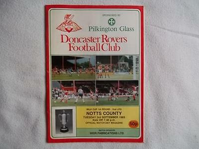 Doncaster Rovers v Notts County 3.9.85 programme