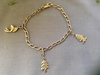 Ladies 9ct Solid Gold Bracelet with Charms