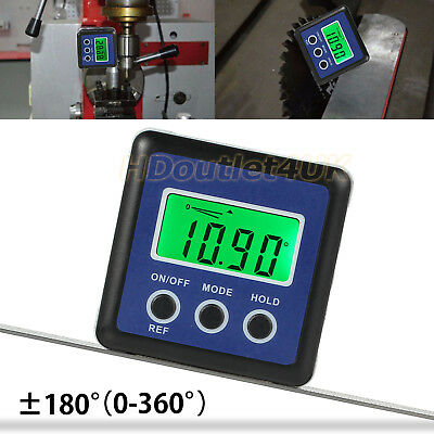LCD Digital Angle Gauge Protractor Bevel Box Magnets Inclinometer Measure 0-360°