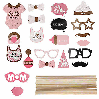 20pcs Baby Shower Photo Booth Props Little Lady Girl New Born celebrate Props