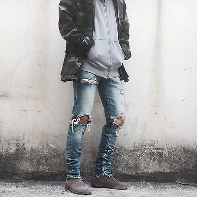Falection 17ss Black Icon Inspired by Fear of God Broken Denim Blue Jeans Pants