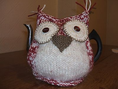 Hand knitted Claret & Cream Owl Tea cosy New