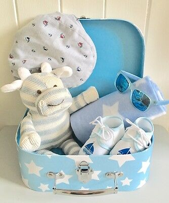 Blue Baby Boy Hamper NEWBORN BABY HAMPER Baby Boy Gift Suitcase Hamper