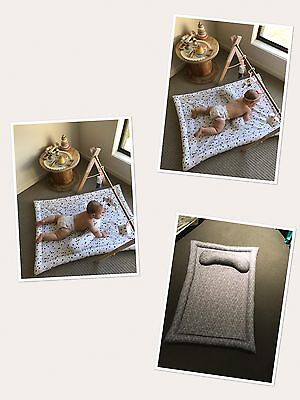 Hand Made Grey And White Reversible Activity Mat And Tummy Time Support