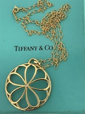 necklace Tiffany & Co GOLD 18KT Large Flower Garden BIG 40MM Pendant Oval Chain