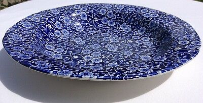 """Burleigh Calico Blue Large Rimmed Soup Plate Dish 10"""""""