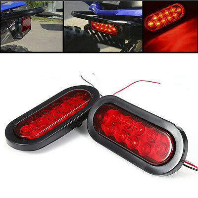 2PCs Red 10 LED Oval Truck Lamps Stop Turn Tail Light 12V Waterproof 190*83*30mm