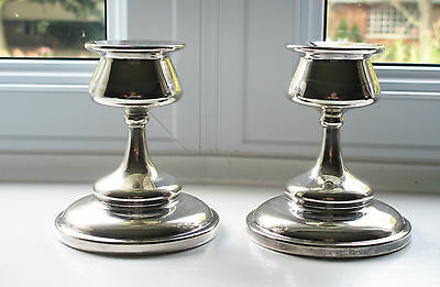 """Silverplate Candle Holders / Sticks Pair R.M. England EPNS 4"""" Signed"""