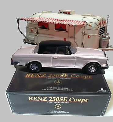 Vintage Tin Friction Car Mercedes Benz 250-SE With Airstream Camper