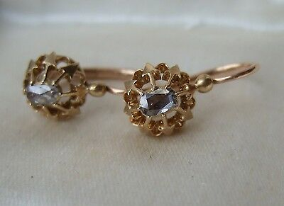 Antique French Victorian 18ct  Rose Gold Rose-cut Diamond Dormeuses Earrings