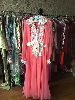 Vintage 1960/1970 Pink with Ivory trim zip up jumpsuit with attached belt