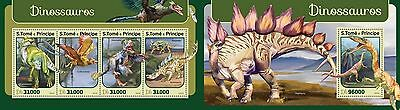 Z08 IMPERFORATED ST16409ab Sao Tome and Principe 2016 Dinosaurs MNH Set