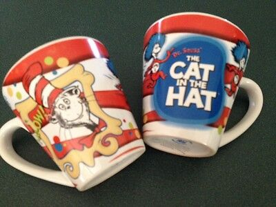 2 X Dr Seuss' The Cat In The Hat Mugs Cups Small Children's Story Mug