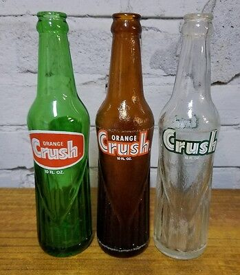 Lot of 3 Orange Crush 10 Ounce Bottles Green, Brown & Clear