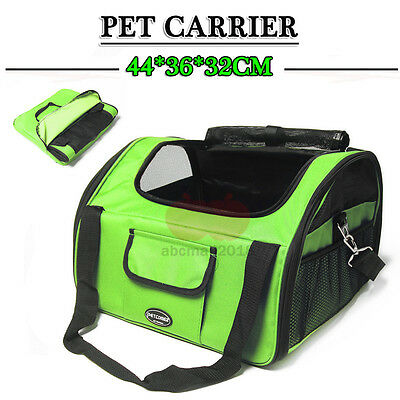 Dog Cat Pet Safety Car Seat Cover Booster Soft Travel Bag Cage Carrier Green L