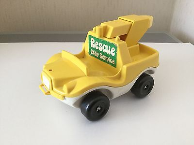 Weebles Yellow Rescue Truck Good Condition Vintage Toy Pull Along and driver