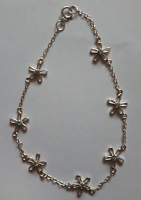 925 Sterling Silver Daisy Chain Flower Anklet Blue Topaz Jewel Stone