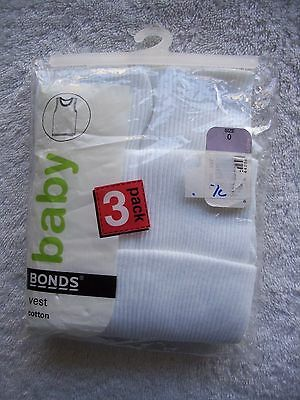 BNIP Baby Boy's/Girl's Unisex Bonds 3 Pack Cotton Knit White Singlets Size 0