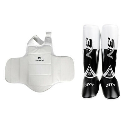 Set Shin Guard Pads MMA Leg Foot and Chest Guards Thai Kick Boxing Training