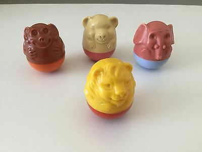 Four vintage weebles  zoo animals 1970's