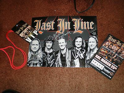 LAST IN LINE HEAVY CROWN AUTOGRAPHED PHOTO AND LAMINATE VIP PASS dio def leppard