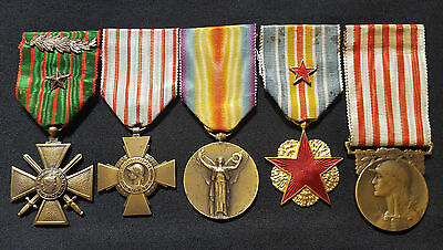 WW1 Original set French Medals War Cross citations 1914-1918 Combatant Wounded