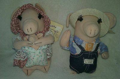 Vintage 1984 RUSS Hogwash By Gorry Personality Pigs Plush Elmer And Eloise